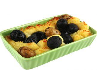 Zemiakové pyré s čiernymi olivami