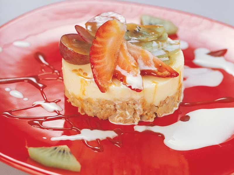 Cícerové tortičky s pudingom zdobené ovocím