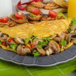 Špenátová omeleta s hubami