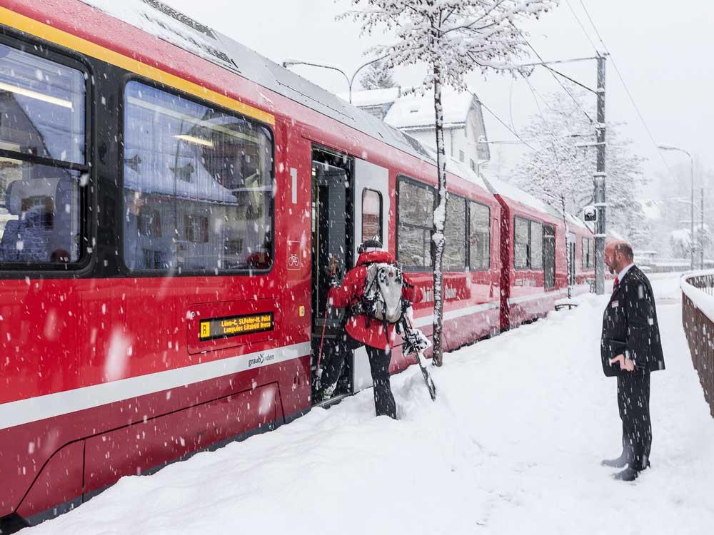 Chur, Vlak Arosa v zime, Chur © Chur Tourismus/Andrea Badrutt