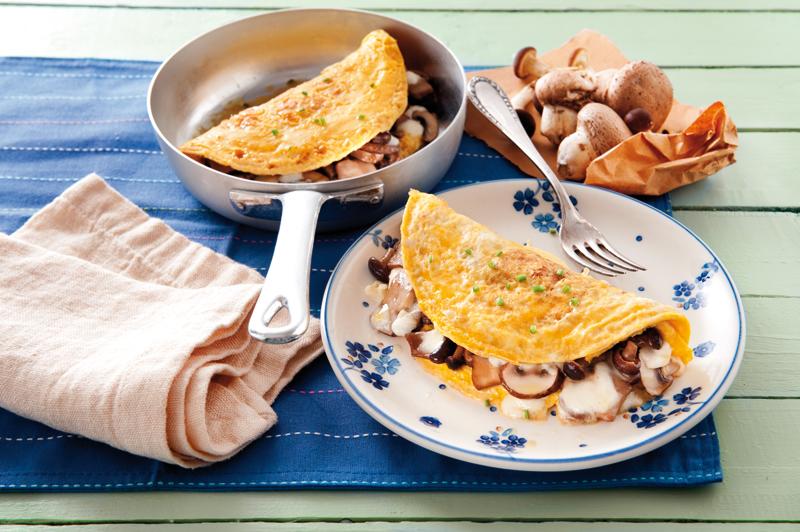 Omeleta s hubami