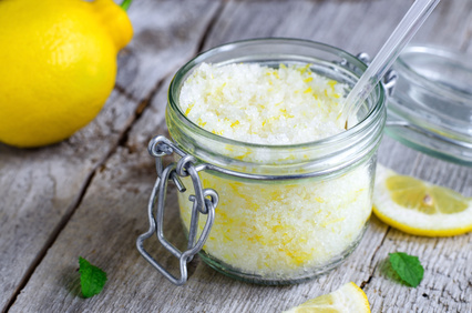 Homemade scrub made of sea salt, lemon peel and lemon juice