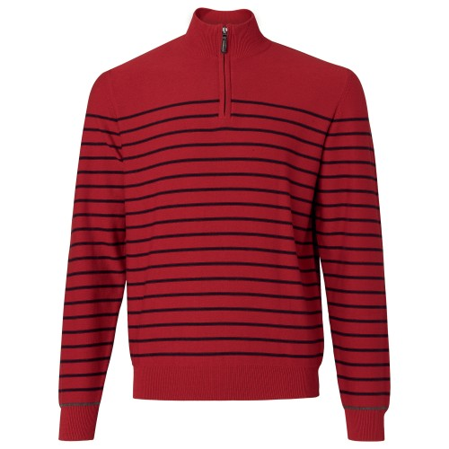 cerveno čierny pruhovaný sveter
