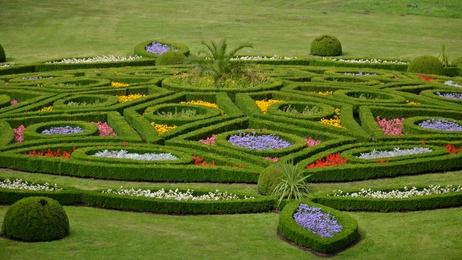 flower garden in Kromeriz, Czech Republic