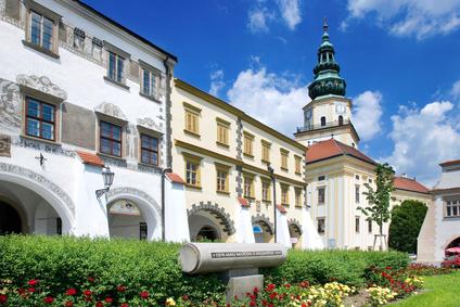 Kromeriz castle (UNESCO) and square in Kromeriz, Moravia, Czech republic.