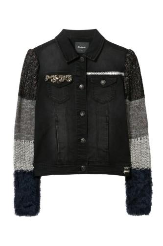 čierna rifľová bunda s výšivkou