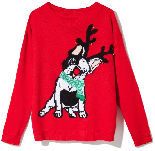 červený sveter s jeleňom