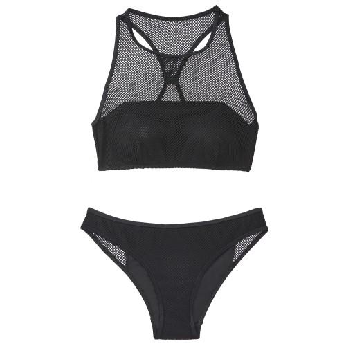 čierne dvojdielne plavky
